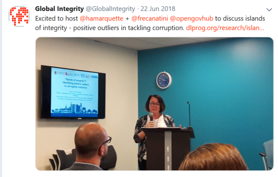 Talking to Global Integrity about the 'islands of integrity' research.